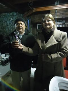 MF  e a anfitriã Marilene Souza